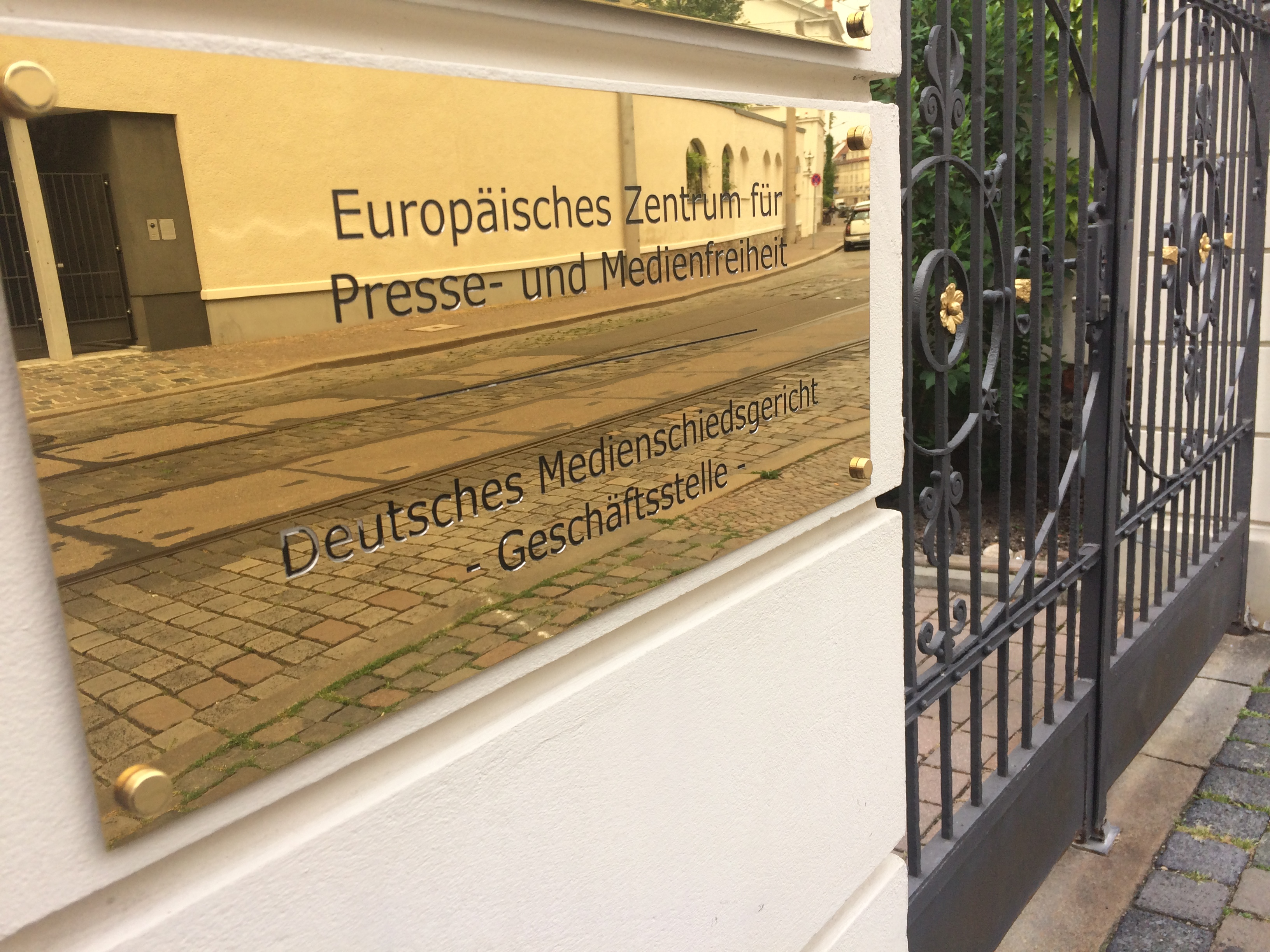 Der Eingang des Eeropean Center of Press and Media Freedom